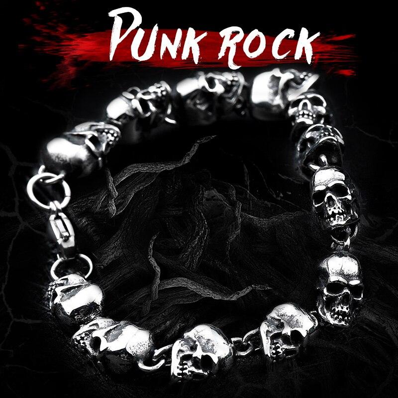 Beier 316L Punk Skull Stainless Steel Bracelet For Man High Quality Fashion Skeleton Jewelry US EURO Hot Gift BC8-005 fashion 316l stainless steel man bracelet skull pattern h012