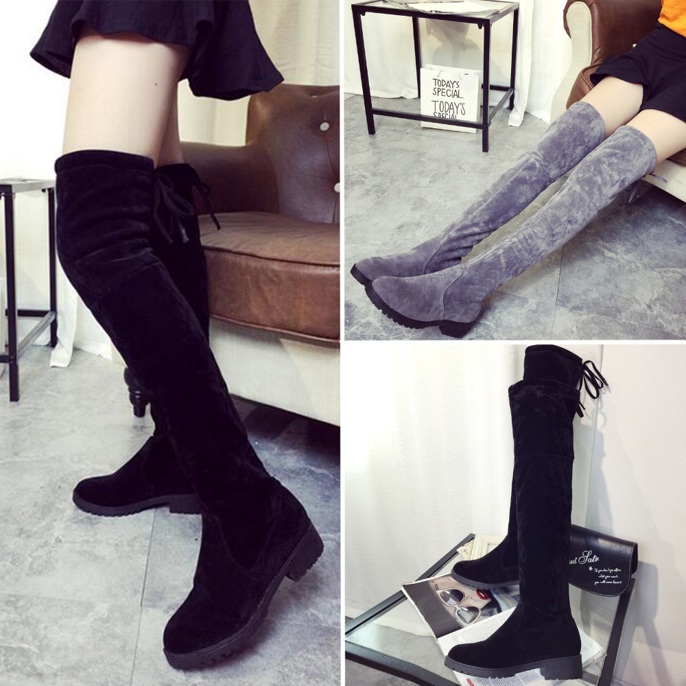 050eacf570f Womens Knee High Boots Women Slim Leg Flat Tall Boots Ladies Faux Suede  Stretched Pointed Laced Back Shoes Celeb THIGH Boot