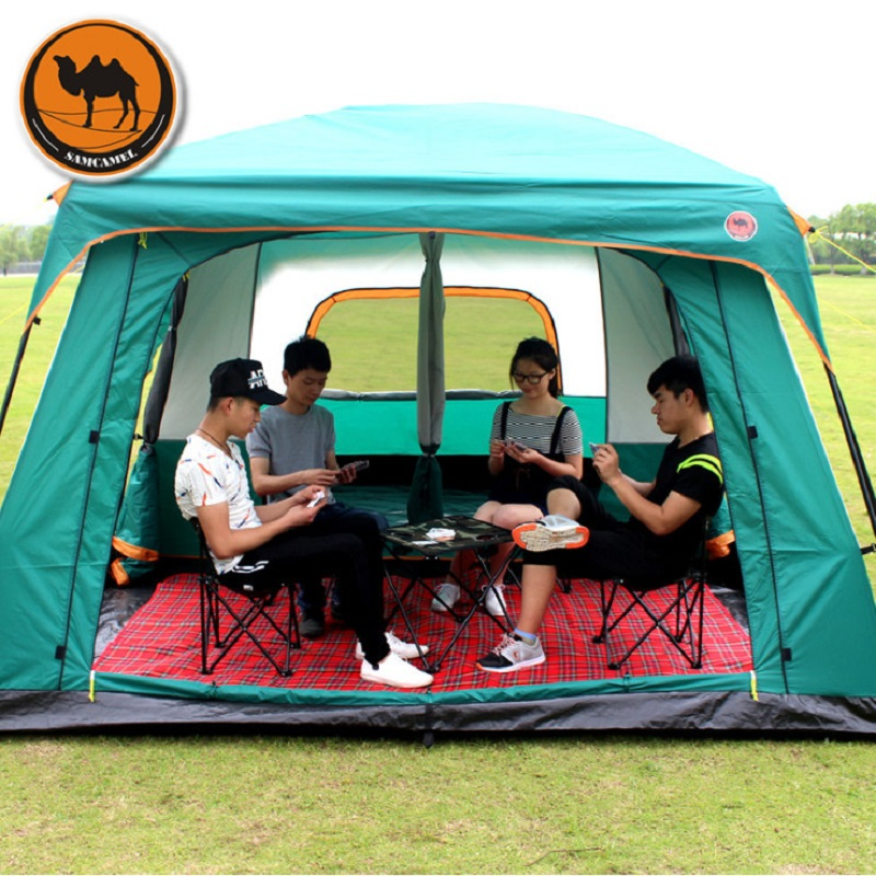 10-12 Person Large Family Tent Large Camping Tent With Mosquito Net Waterproof Party Tent Sun Shelter Gazebo AwningTente Camping alltel high quality double layer ultralarge 4 8person family party gardon beach camping tent gazebo sun shelter