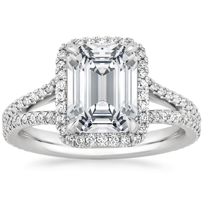 Halo Brilliant 2CT Emerald ASCD Lab Grown Diamond Solid 9k Gold Jewelry Princess Cut White Gold Engagement Diamond Wedding Ring