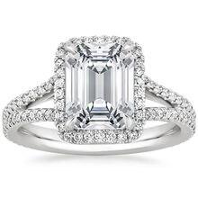 Halo Brilliant 2CT Emerald ASCD Lab Grown Diamond Solid 9k Gold Jewelry Princess Cut White Gold