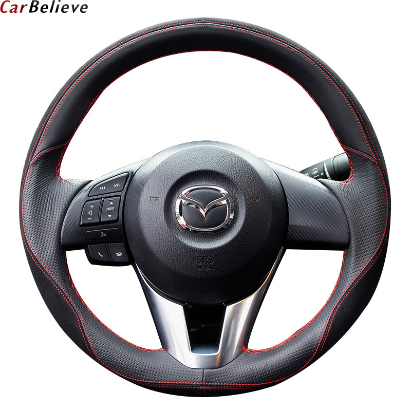 Car Believe Genuine car steering wheel cover For mazda 6 gh gj cx-5 3 2014 bk 2017 2016 cx-3 steering wheel car accessories forever sharp a01 56p steering wheel adapter 5 6 hole billet alum