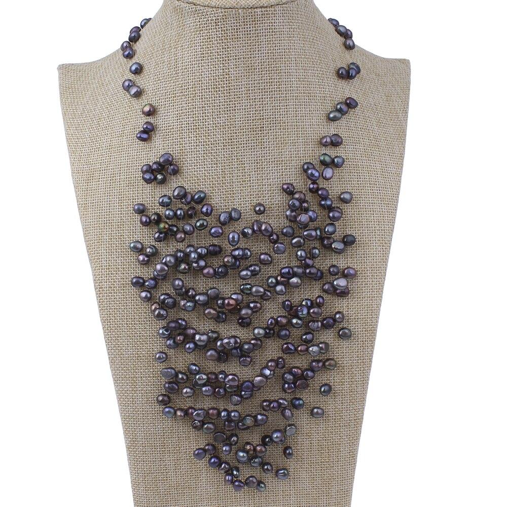 Nouveau bijoux de mariage collier de perles d'eau douce naturelles de mariée blanc rose noir naturel réel 6-7mm Baroque perles collier ras du cou