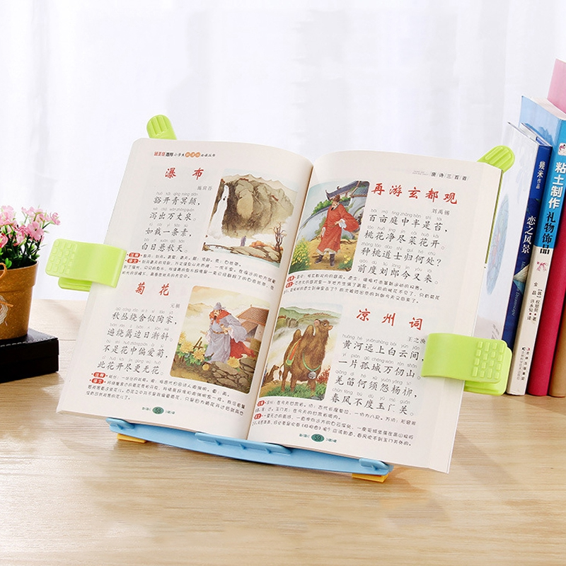 Soporte de libro plegable port/átil Soporte de descanso de lectura Libro de cocina ajustable multifuncional Soporte de receta de cocina Sujetalibros Soporte de lectura para escuela de oficina en casa