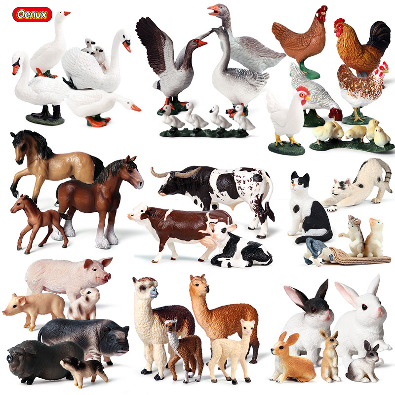 Oenux Lovely Farm Family Model Action Figures Farmer Cow Hen Horse Pig Poultry Animals Figurine Miniature Educational Kids Toy