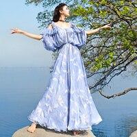 Бесплатная доставка, новинка 2019, модное длинное летнее шифоновое платье спагетти на бретельках, Пляжное Платье Boshow, голубое и розовое