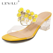 Lsewilly 2019 Fashion Crystal Transparent Women Shoes Summer High Heels Slides Big Size Party Ladies Slipper Luxurious Sandals