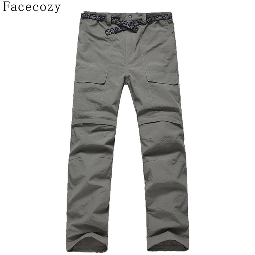 ФОТО Facecozy Men Summer Quick Dry Trekking Removable Pants Male Outdoor Fishing Ultra-thin Sweatpant