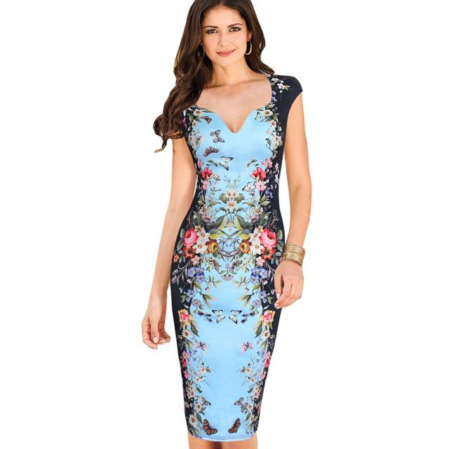 281d3713403 Womens Summer Dresses Elegant Floral Butterfly Print Casual Knee-Length  Bodycon Sheath Dress 200