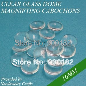 16mm clear magnifying glass cabs, clear domed glass domes, glass cabochons, galss circles