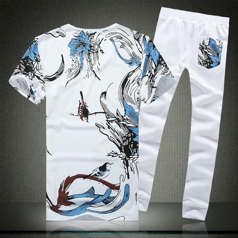 Summer Mens Sets Short Sleeve Clothes Trousers For Men Print Floral Casual Full Pants Plus Size M-5XL Two Piece Sets Male