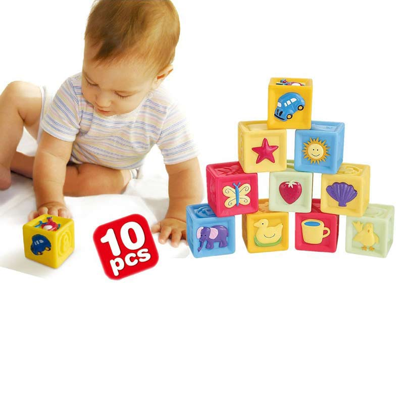 10 Pcs/Set Children Toy Infant Soft Building Blocks Cube Squeeze Stack Block Baby Educational Toys Kids Gifts YH-17 dayan gem vi cube speed puzzle magic cubes educational game toys gift for children kids grownups