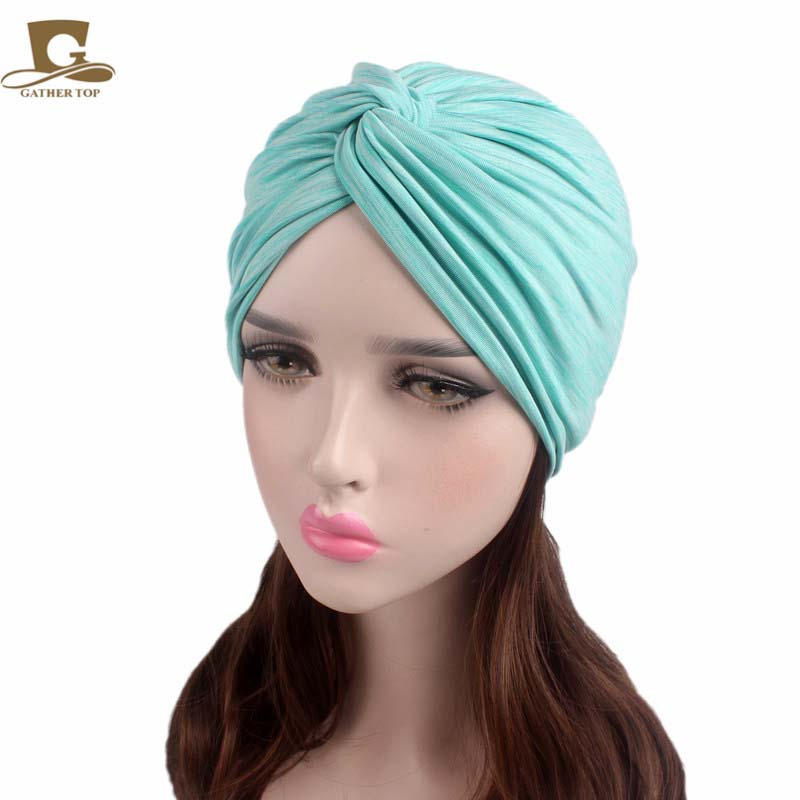 New Soft stretchy Turban Hat twist dome caps Doo Rag Chemo Skull cap women lady Hair Wrap Hijab Head Scarf hair accessories