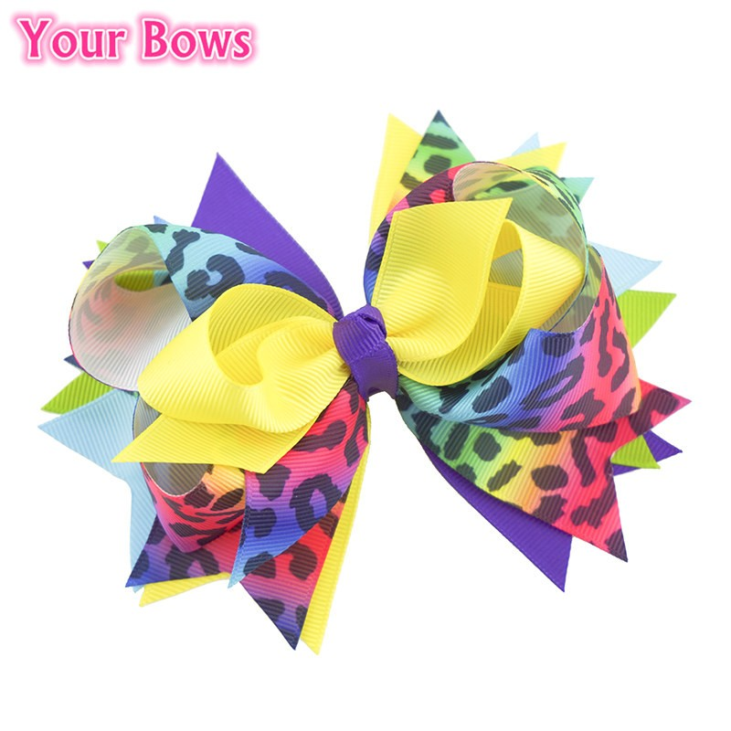 Your Bows 1PC 5.5 Inch Rainbow Leopard Girls Hair Bows Polyester Bows Hairpins Fastion Headwear Accesorios para el cabello al por mayor