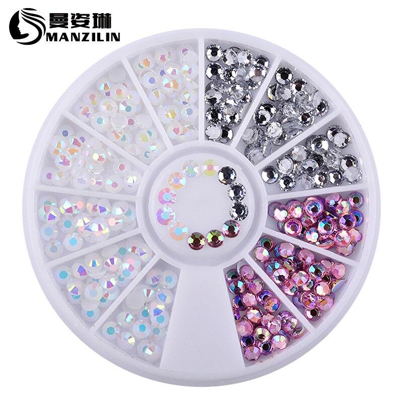 1 коробка красочные 3D желейные цвет AB акриловые колеса Декоративные наклейки для ногтей
