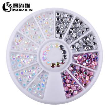 1 Box kolorowe 3D Jelly AB akrylowe koło z ozdobami na paznokcie dekoracyjne naklejki DIY tipsy biżuteria dżetów narzędzia do Manicure tanie i dobre opinie MANZILIN CN (pochodzenie) NRD-092 Kryształ 1pcs