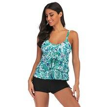 цена на Tankini Swimwear Ruffle Plus Size fluffy Cake Skirt New Arrival 2019 Sexy Women Bikinis Two Piece Floral Print Halter Swimsuit