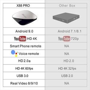 Image 4 - X88 PRO TV Android 9.0 4GB pamięci RAM 128GB 64GB 32GB Google asystent głosowy RK3318 Quad rdzeń Wifi 4K X88PRO 2GB 16 GB, set top box