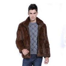 KERUISHU 2017 Winter Stand Collar Fur Faux Fur Coat Men Imitation Mink Leather Furs Jacket Smart Casual Male Coats Outwear K5