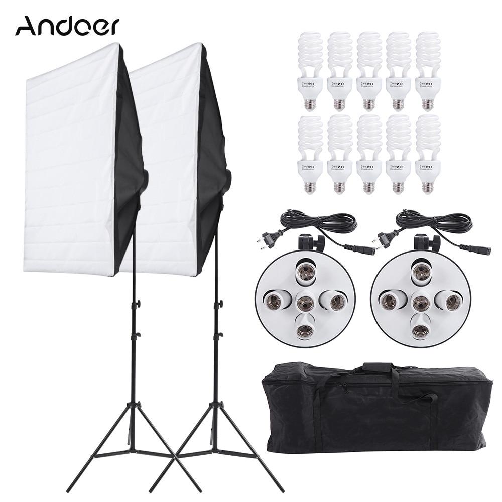 Andoer Photography Studio Portrait Light Lighting Tent Kit Photo Video Equipment( Softbox  Light Socket Bulb Tripod Stand)