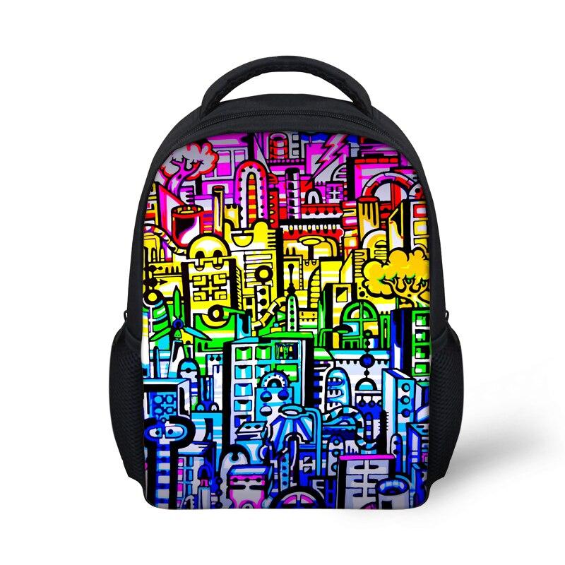 FORUDESIGN Mini Kids Back Bags,Small Backpack for School Boys Girls,12 inch Graffiti Printing Kindergarten Backpacks Book Bag