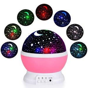 Image 2 - LED מסתובב כוכב מקרן חידוש תאורת ירח שמיים סיבוב ילדים תינוק משתלת לילה אור סוללה או יציאת USB מופעל