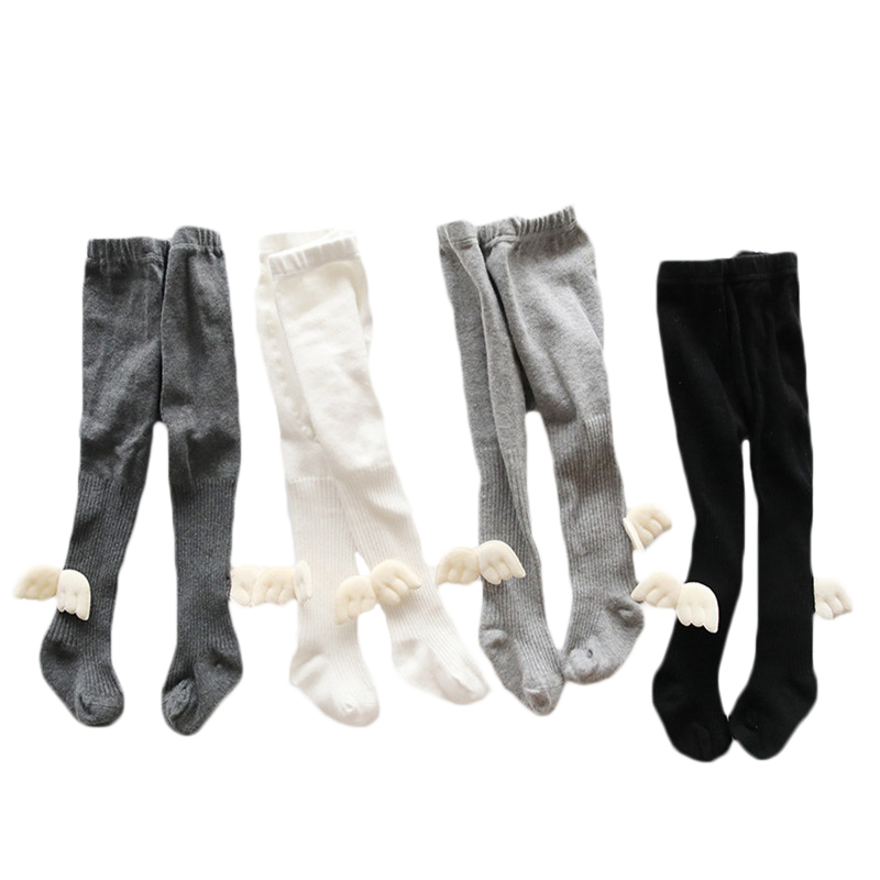 Solid Kids Pantyhose Baby Girl Tights Infant Girls Stockings Angel Wings Babies Cotton Tight Toddler Boys Newborn Stocking