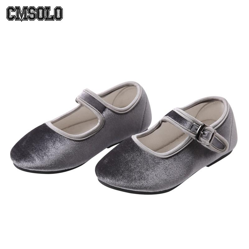 CMSOLO zapatos Primavera de terciopelo princesa Casual niños calzado infantil suave Vintage niño lindo niños Zapatos Niño marca caliente