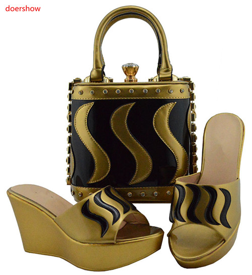 doershow very nice style Shoes and Bag Set In Italy gold Color Italian Shoes with Matching Bag Set for wedding HUU1-15 doershow gold shoe and bag set new 2018 women shoes and bag set in italy red color italian shoes with matching bags set ha1 15