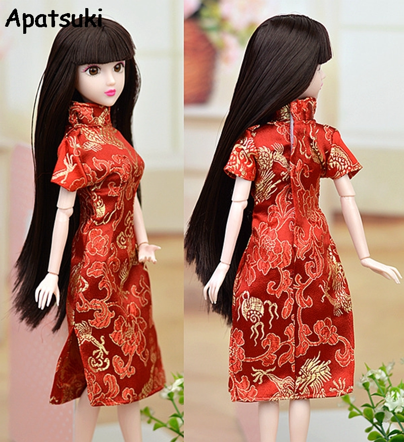 High Quality Red Flower Handmade Dress For Barbie Doll Clothes Cheongsam Chinese Traditional Dress Vestido Qipao Evening Dresses