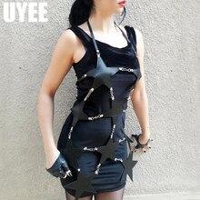 UYEE, сексуальная юбка из искусственной кожи, пентаграмма, лямки, формирователь, для женщин, связывание, мини, полый пояс, ремень, платье, Дамская подвязка, LD-010