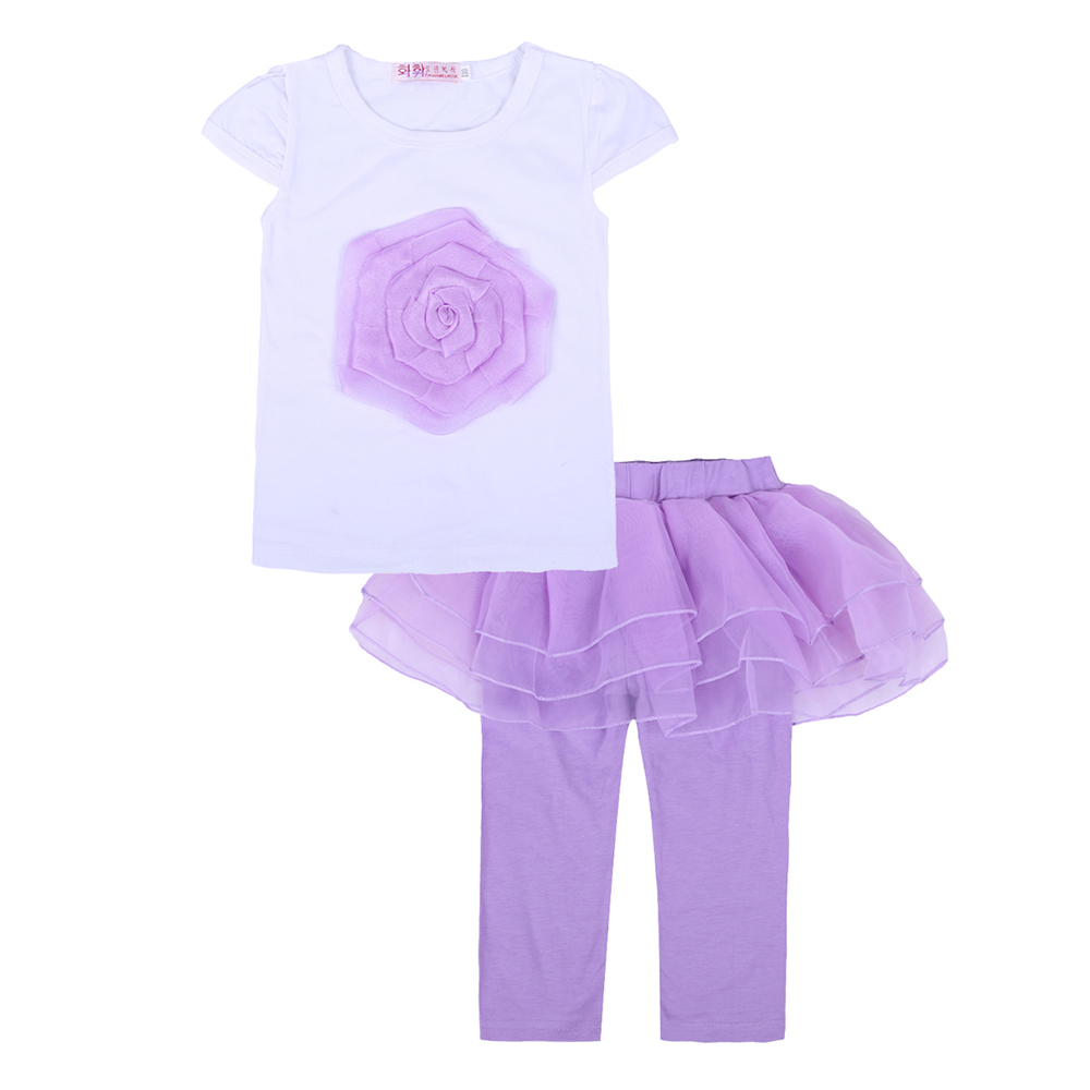 kids clothes Girl Set Summer 2018 Girl Kids Princess Culottes Leggings Gauze Pants Party Skirts + Flower Embroidered T-Shirt