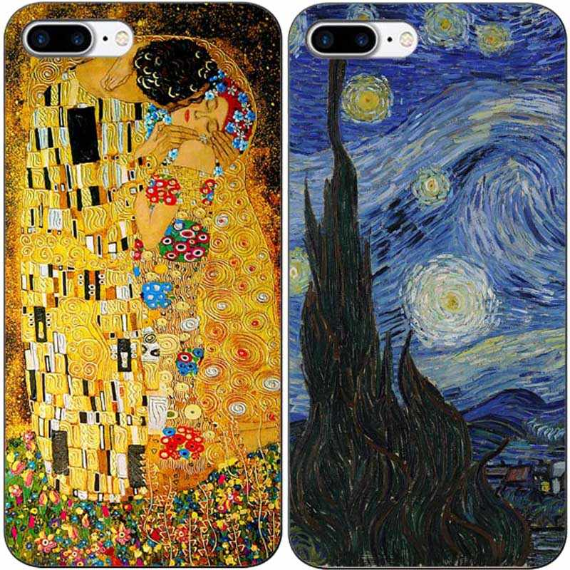 Olieverfschilderij Gustav Klimt De Kus Art Van gogh Hard PC Phone Case Cover Voor iPhone XR XS MAX 5 5S 6 6SPlus 7 8PLUS 11 11PRO