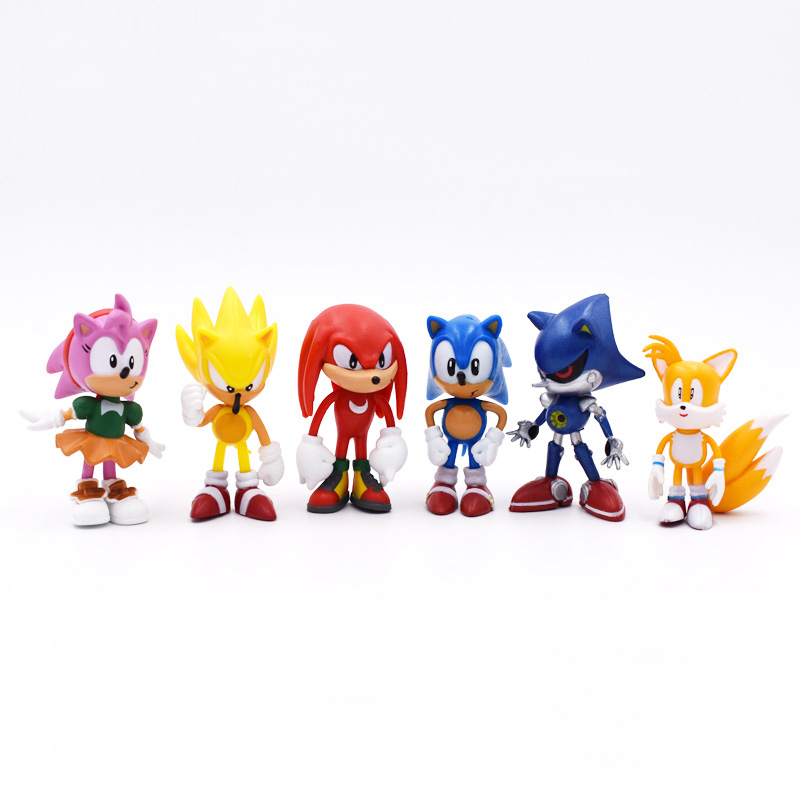 6pcs/set 7cm Sonic Figures Toy PVC Toy Sonic Shadow Tails Characters Figure Toy Free Shipping