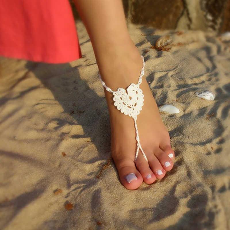 Eenvoudige Hart Vrouwelijke Enkelbanden Strand Zwembad Barefoot Haak Sandalen Voet Sieraden Victoriaanse Kant Yoga Schoenen Bridal Enkelband