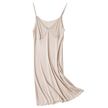 100% Mulberry Silk Knitted Nightgown Fashion Night Dress Summer Skirt Lace Soft Cool Adjustable