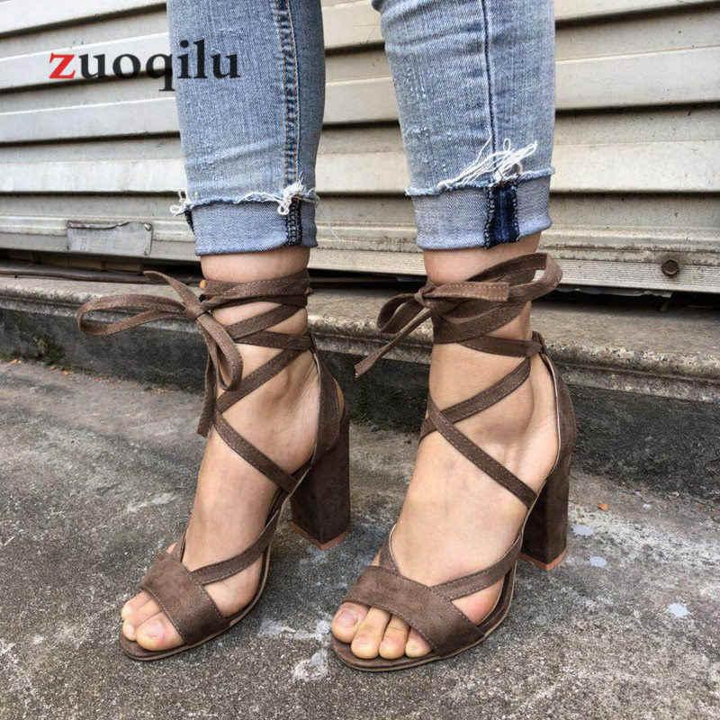Phụ nữ bơm 2019 quai cổ chân nữ cao Giày Da Lộn Đỏ Nữ Giày cao gót Giày cưới miệng cá cao cấp giày cao gót đen