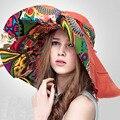 Envío libre forme a estilo chino con estilo de la mujer plegable del sombrero protección UV grande ancho playa del verano del borde del sombrero del sol