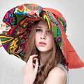 Free Shipping Fashion Chinese Style Stylish Women's Foldable UV Protection Hat Wide Large Brim Summer Beach Sun Hat