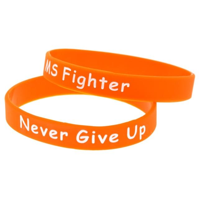 Onebandahouse 50pcs Lot Ink Filled Logo Bracelet Ms Fighter Never Give Up Silicone Wristband