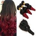 Бразильский освобождает волну девы волос с закрытием, Красное вино ломбер brazillian девственные волосы переплетения с закрытия кружева мокрой и волнистые 4 шт.