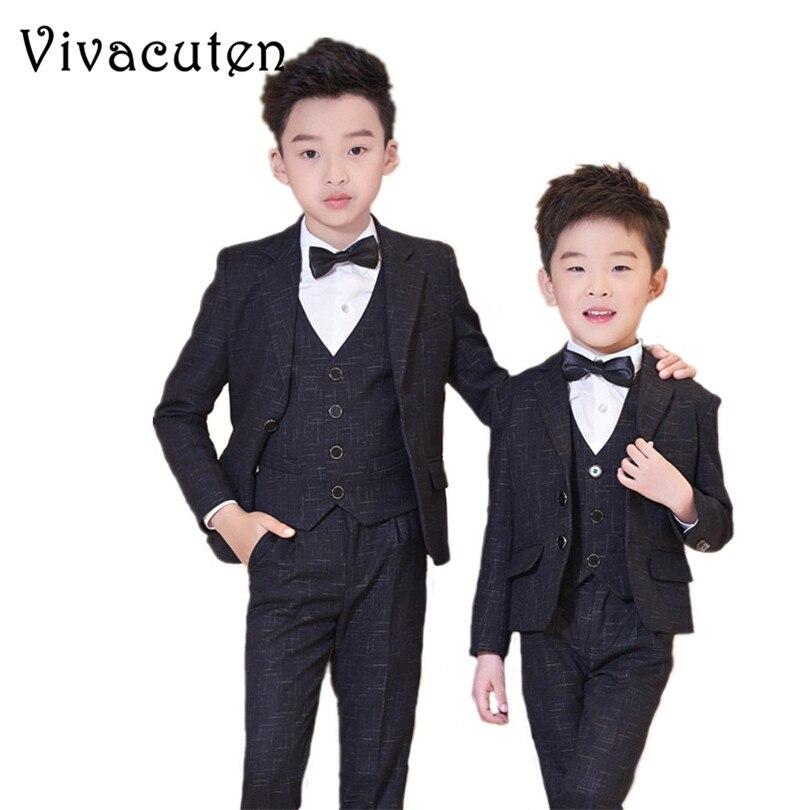 Boys Suits For Wedding Prom Suits Jacket Vest Shirt Pants Tie 5pcs Clothing Set Kids Boy Costume Dress Suits Blazer Clothes F187