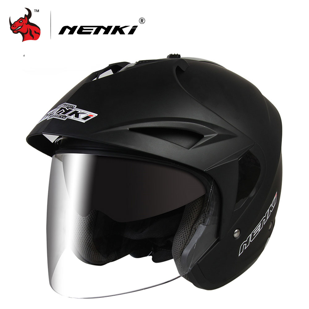 NENKI Motorcycle Open Face Helmet Safe Flip Up Motorcycle Helmet With Inner Sun Visor Everybody Affordable DOT Certification for top gear the stig helmet with silver visor tg collectable like simpson pig yellow motorcycle helmet you re the stig