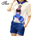 Sweet Lady Summer Suit White Tees + Blue Shorts Large Size S-3XL Fashion Women Clothing Set Printed Style Lady Chiffon Suit