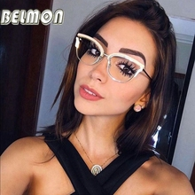 Belmon Optical Eyeglasses Women Fashion Prescription Spectacles Diamond Glasses Frames Transparent Clear Lens Eyewear RS824