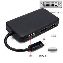 USB-C USB 3.1 Type C to HDMI Digital AV & DVI &VGA & DP DisplayPort Combo 4 in 1 Adapter for Laptop & Notebook