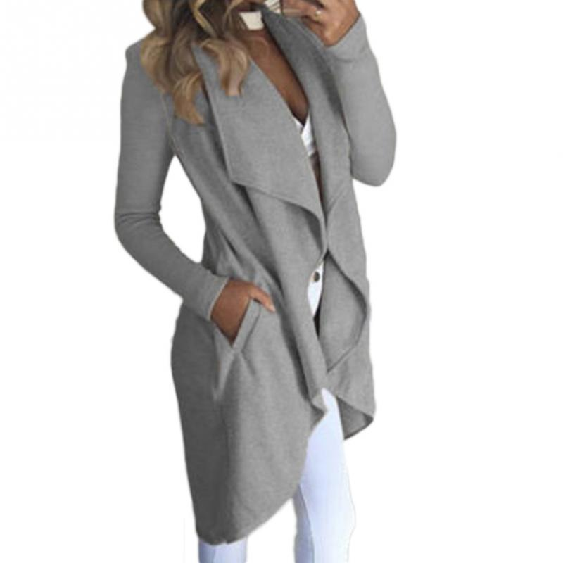 2018 New Autumn Fashion Women 'S Cotton   Trench   Coat Casual Long Outerwear Loose Clothing For Lady
