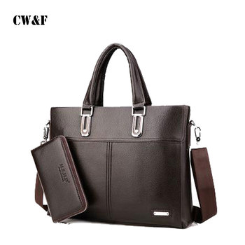 PU Leather hand cross-section vertical section men's business briefcase