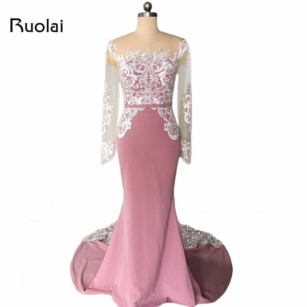 Photo réelle sirène robes de soirée à manches longues de haute qualité dentelle perles Mauve Robe de bal 2019 Robe de soirée Robe de soirée MD08