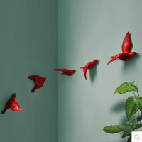 Resin bird creative wall murals, wall decoration, simple three-dimensional bedroom wall stickers, TV background wall decorations